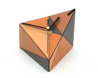 Desk Clock, Wood clock, Geometric Table clock, Triangle, Brown, Grey, Tan, Orange clock, Unique gift, Spring home decor, Mothers day