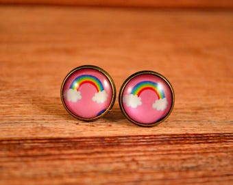 Rainbow Studs, Rainbow Earrings, Rainbow Pride, Rainbow Jewelry, Rainbows, Cloud Earrings, Cloud Studs, Cloud Jewelry, Weather Studs