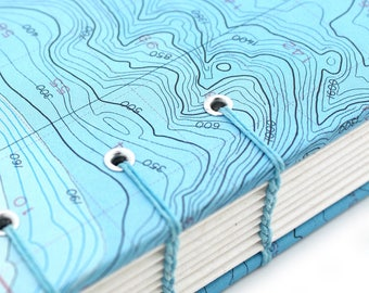 Map Journal - Unlined Journal - Bathymetric Chart Journal #8, handmade by Ruth Bleakley out of Nautical Charts - 160 pages