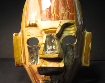"Mexican Art, Aztec Mayan Burial Death Mask,6"" x 8"", copper, gold, tan,rust, ivory colors, mother of pearl, on black base"