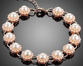 Valentines Day Gift, Bracelets, Women Bracelet, Matching Bracelets, Girl Bracelet, Budding Flower Pearl Bracelet
