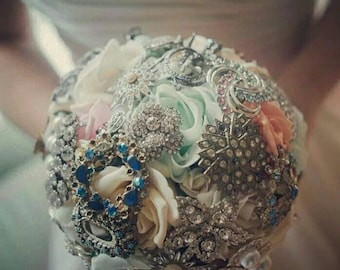 Handmade brooch bouquet. Unique and beautiful.