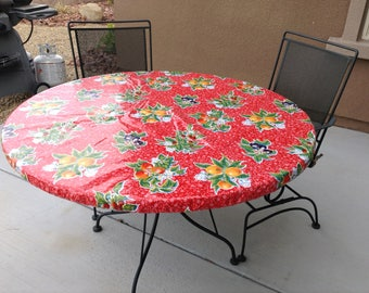 Charmant Round Fitted Tablecloth, Square, Rectangle Or Round Oilcloth Fitted  Tablecloth. Wipe Able Custom Oilcloth Tablecloth With Drawstring