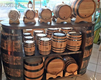 30 Gallon American Oak Barrel - Charred with bung, spout and stand