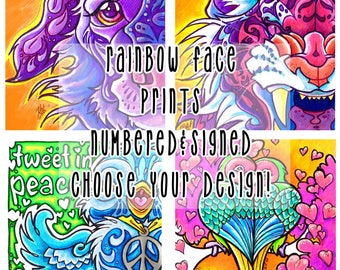 Rainbow Face Prints - Multiple designs - Signed & Numbered - colourful animal bird prints