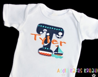 Personalized Nautical Themed Baby Bodysuit