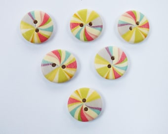 SET of 6 wood buttons: natural/Rainbow 18mm round (n ° 2)