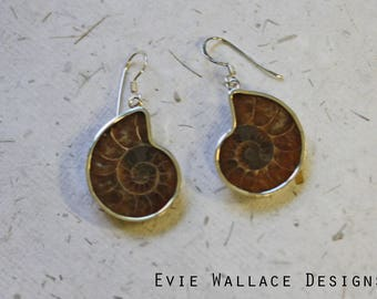 Ammonite Earrings / Sterling Silver / Drop Earrings / Natural Ammonites / Fossil Earrings / Fossilised Earrings / Swirl Earrings / Nature