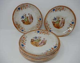 Eight Old Plates Pexone, Asian Decoration, Diameter: 20.5 cm, Free Shipping!