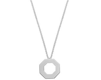 Silver Palaui pendant with customizable hexagonal shape with 40cms chain with extension.