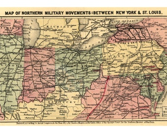 Map of Civil War Military Movements between New York & St. Louis, 1861
