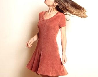vintage MINI rust color SPANDEX & nylon late 90s striped vintage dress
