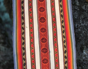 Andean Alpaca Scarf, rainbow, loom woven, natural dyes