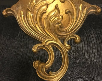 Large Vintage Gold Wall Pocket with Scroll Design Retro Shabby Chic Hollywood Regency Decor
