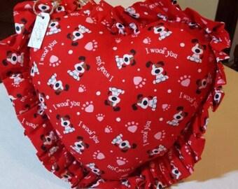 Handmade Red Heart Pillow Dog Print with Ruffles