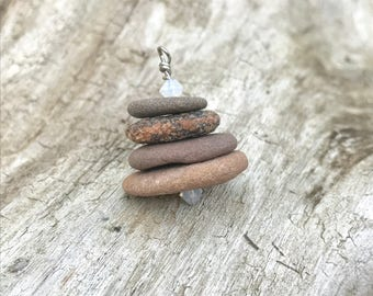 Cairn Necklace, Beach Stone Necklace, Stacked Stone Necklace, Zen, Natural Stone, Beach Stone Jewelry, Beach Stones, Cairn, Birthstone