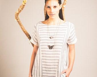 Loose-fitting, linen-cotton top stripes. Lemongrass. Maillagogo