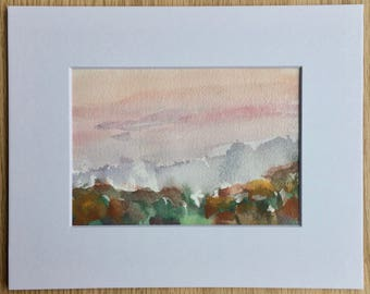 Original gouache landscape painting plein air Ohio sunset - includes mat