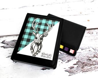 Post-it style sticky note set, post-it box, blue checkered deer, teaching gift, illustration Les Bonheurs d'Amélie