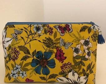 Mustard Floral Make Up/Cosmetic Bag