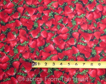 Strawberrys Berry Fruit Toss on Black BY YARDS Timeless Treasure Cotton Fabric