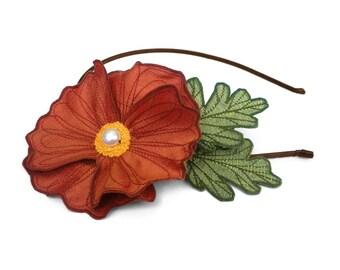 Flame Orange Icelandic Poppy Flower Headband- You Choose Headband, Clip, or Brooch- Embroidered Silk Flower Fascinator with Leaves