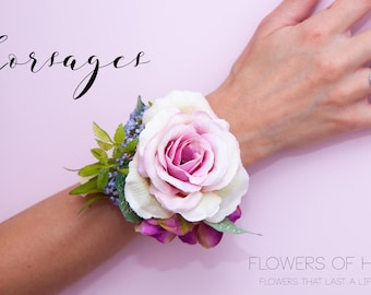 Lilac rose corsage...Artificial corsage ideal for prom, weddings etc with gift box.