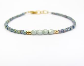 Friendship Bracelet, Light Sage Glass Beads, Multi color Seed Bead Bracelet, Petite Tiny Bracelet, Miss Ceces Jewels Hawaii Jewelry