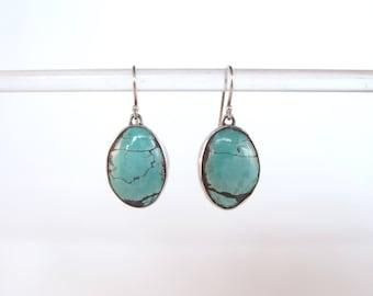 Turquoise jewelry earrings dangle silver oval cabochon drop silver ear turquoise matrix natural gemstone boho blue stone earrings