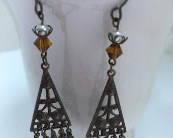 Brass Pearl Dangle Earrings, Vintaj Natural Brass Earrings with Swarovski Crystal