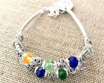 Personalized Grandmother's silver Birthstone Bracelet with Custom Charm (832)