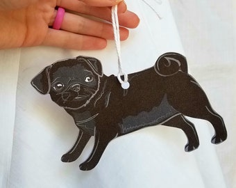 Pug Linen Paper Gift Tag