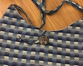 Vintage material crossbody tote   handcrafted