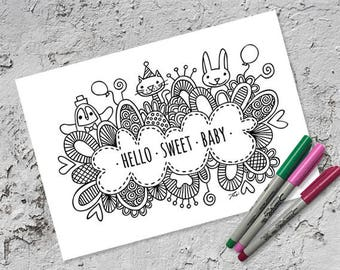 Hello Sweet Baby Colouring Page | Instant Digital Download | Original Doodle Design