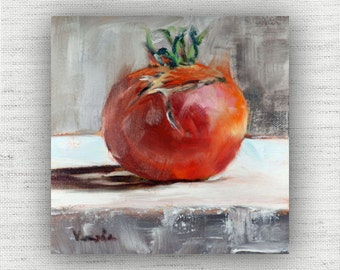 Red Painting Print of Still Life Oil Painting Home Decor Wall Art - Vegetable Kitchen Food Room Decor, Rustic Dining Room Art Print, Tomato