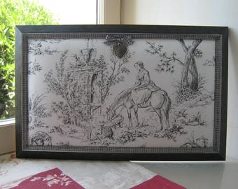 """Frame collection French toile de jouy pastoral scene """"ride"""""""