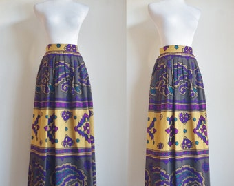 Vintage Maxi Skirt, 80s Skirt, Cotton Skirt, Mustard Yellow and Purple Printed Skirt, Large Waist 30