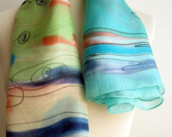 Silk scarf Handpainted- Hand Painted square Silk Scarf- Blue-Green Silk Square Scarf- Giveaways -Gifts for her- 35x35in. (90x90cm)