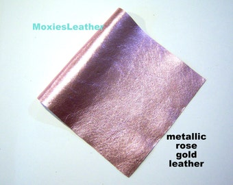 Rose gold leather genuine leather piece , soft leather in rose gold, rose gold leather for baby shoes