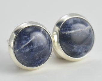 blue sodalite 8mm sterling silver stud earrings