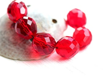 12mm round Red beads, Czech Glass fire polished faceted large ball red glass beads - 6Pc - 2989