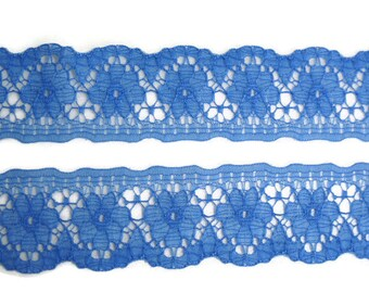 """Blue Flower Lace Trim, 1.25"""" wide x 2.5 yards. Wedding, Millinery, Costumes, Scrapbooking Supplies. NOS Vintage Sewing Lace Trim."""