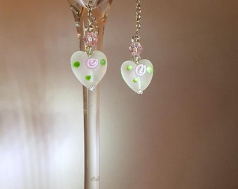 Frosted glass heart with pink rose buds