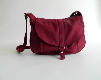 Rose Red messenger bag,Canvas diaper bag ,Women shoulder bag,Cross body tote bag , Travel Handbag- Sale 25% - / no.12 KYLIE