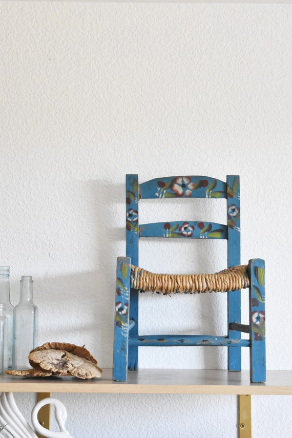 blue handmade handpainted mexican child's chair / toddler