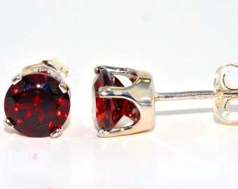 Garnet Round Stud Earrings .925 Sterling Silver Rhodium Finish