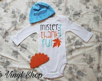 Mister Thankful Baby Boy Fall Thanksgiving Onesie