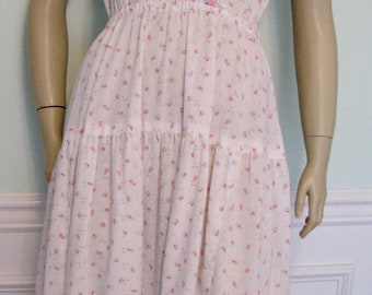 1970s Dress BoHo Hippie Eyelet Pink Roses Tiered Skirt
