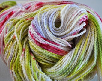Lime Raspberry.  Handpainted ORGANIC fine merino yarn sock weight