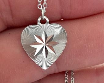 Vintage silver diamond cut heart pendant, rhodium plated heart pendant, love pendant.